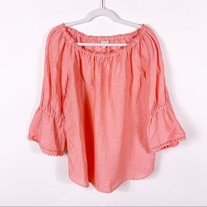Talbots Tops - Talbots | Off Shoulder Pink Pom Pom Flowy Blouse